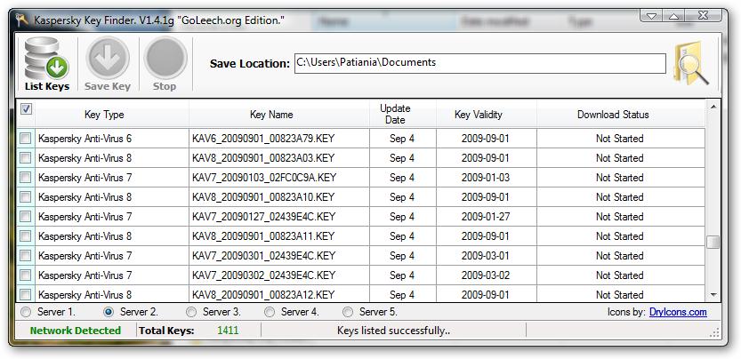 ключи для kav от 021009